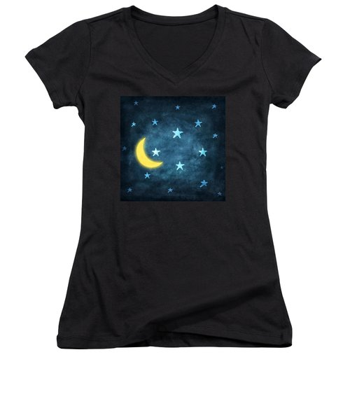 Stars And Moon Drawing With Chalk Women's V-Neck (Athletic Fit)