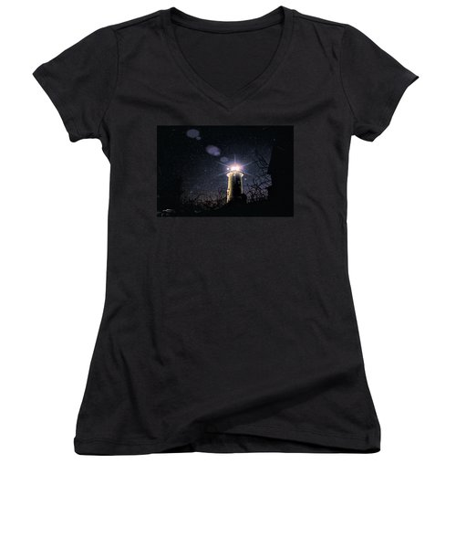 Stars Over Nobska Lighthouse Women's V-Neck
