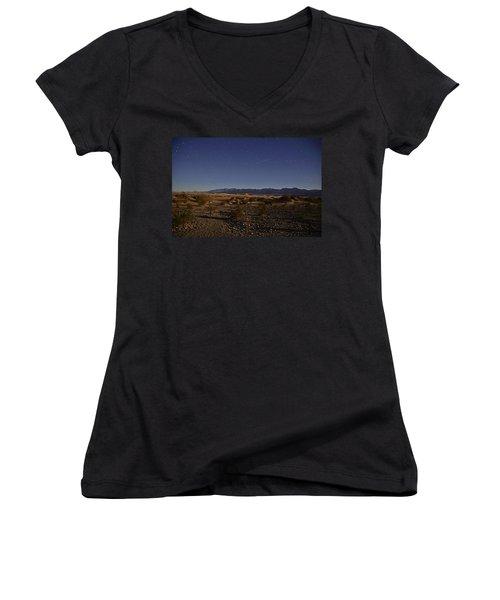 Stars Over The Mesquite Dunes Women's V-Neck T-Shirt (Junior Cut) by Michael Courtney