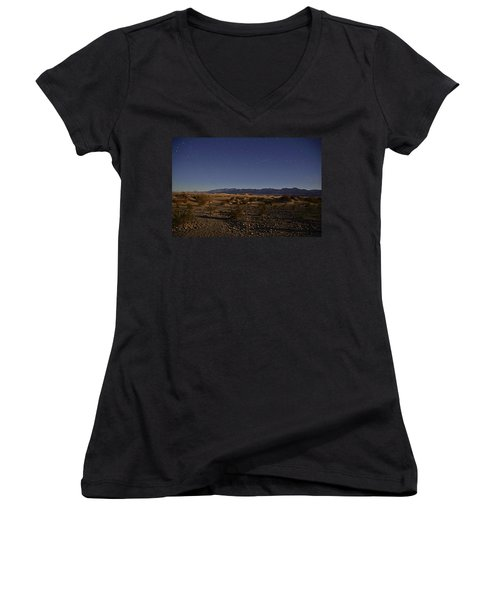 Stars Over The Mesquite Dunes Women's V-Neck (Athletic Fit)