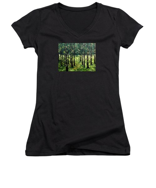 Starting The Game Women's V-Neck T-Shirt (Junior Cut) by Lisa Aerts