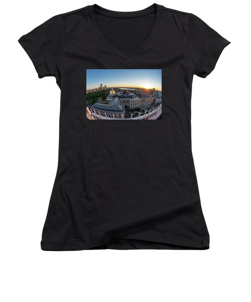 Women's V-Neck featuring the photograph State House,fisheye View by Michael Hubley