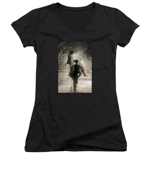 Women's V-Neck T-Shirt (Junior Cut) featuring the photograph Statue In Rostock, Germany by Jeff Burgess