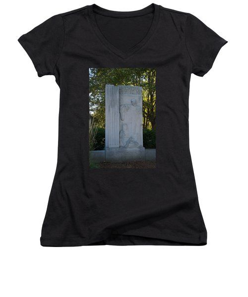 Statue Women's V-Neck T-Shirt (Junior Cut) by Joseph Yarbrough