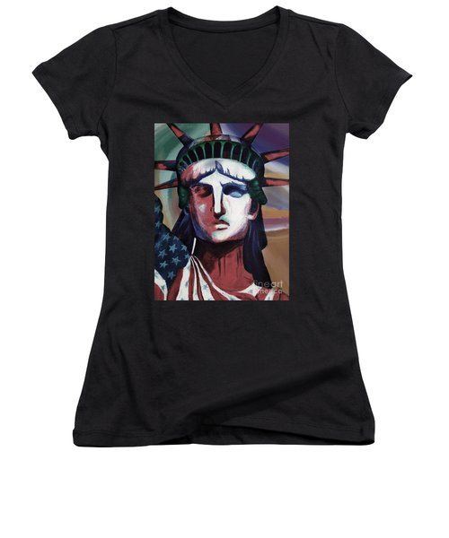 Statue Of Liberty Hb5t Women's V-Neck T-Shirt (Junior Cut) by Gull G