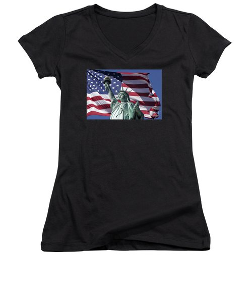 Women's V-Neck featuring the photograph Statue Of Liberty New York  by Juergen Held