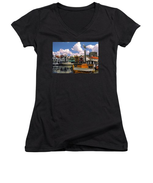 Stavanger Harbor Women's V-Neck T-Shirt