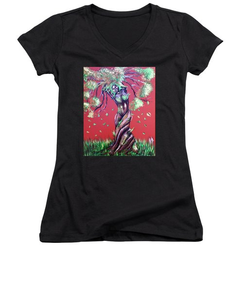 Stay Rooted- Stay Grounded Women's V-Neck (Athletic Fit)