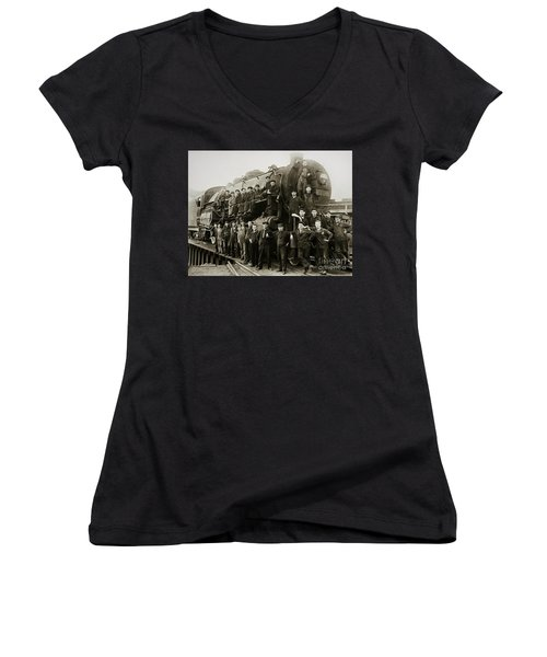 Steam Engine 351 On Turntable Coxton Yards Coxton Pennsylvania Early 1900s Women's V-Neck (Athletic Fit)