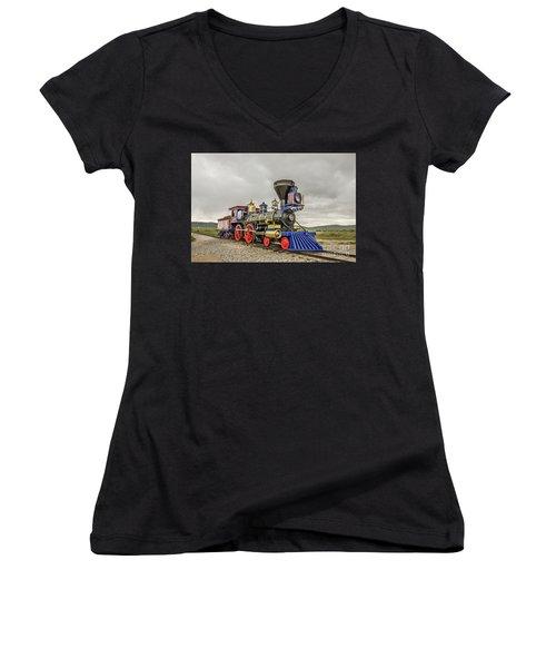 Steam Locomotive Jupiter Women's V-Neck T-Shirt (Junior Cut) by Sue Smith