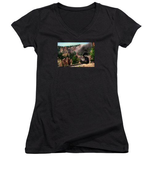 Women's V-Neck T-Shirt (Junior Cut) featuring the photograph Steam Through The Rock Formations by Ken Smith