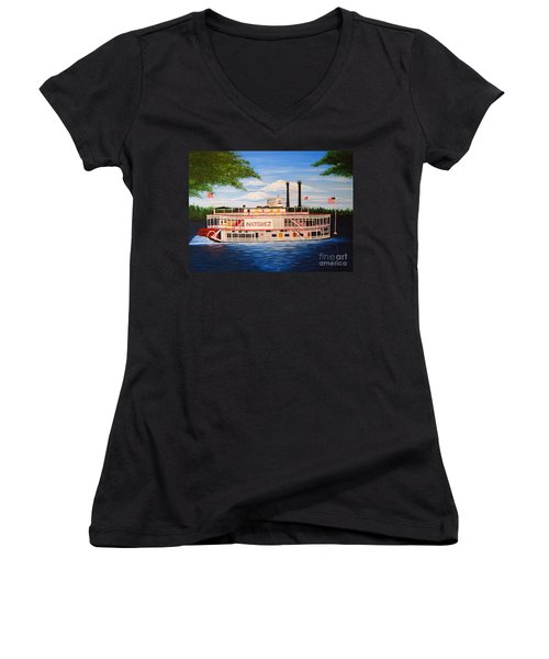 Steamboat On The Mississippi Women's V-Neck (Athletic Fit)