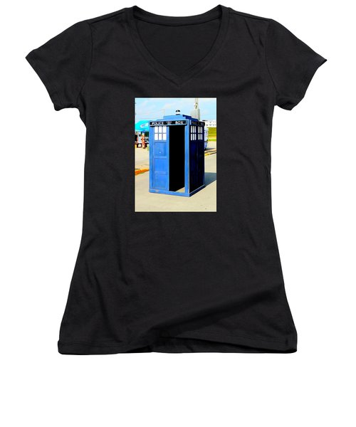 Steampunk Tardis Women's V-Neck T-Shirt (Junior Cut) by Justin Moore