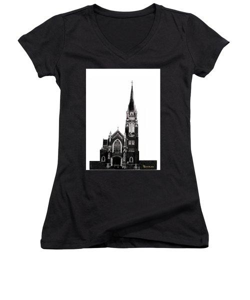 Steeple Chase 1 Women's V-Neck T-Shirt (Junior Cut) by Sadie Reneau