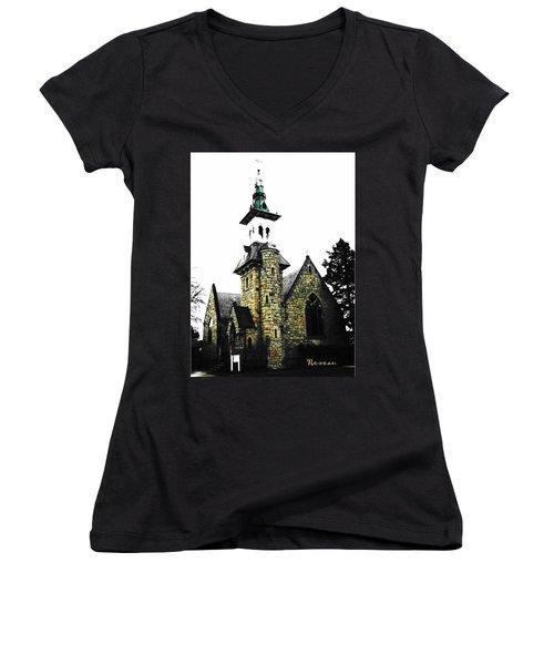 Steeple Chase 2 Women's V-Neck T-Shirt (Junior Cut) by Sadie Reneau
