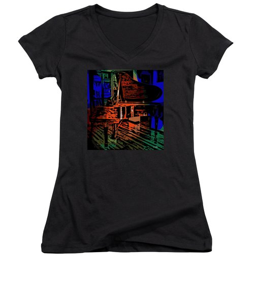 Steinway Piano Women's V-Neck T-Shirt (Junior Cut) by George Pedro