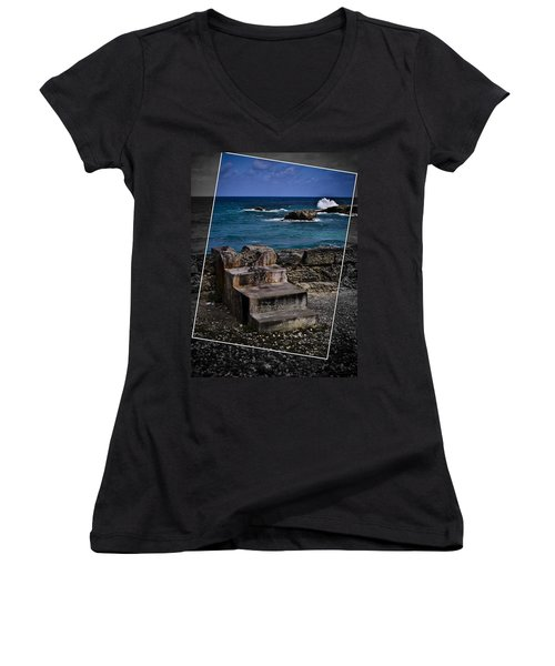 Steps To The Ocean2 Women's V-Neck (Athletic Fit)