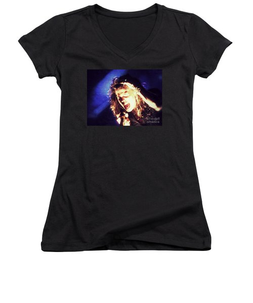 Women's V-Neck T-Shirt (Junior Cut) featuring the photograph Steven In Color by Traci Cottingham