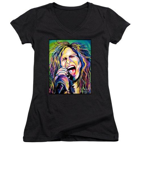 Steven Tyler Women's V-Neck T-Shirt (Junior Cut) by Amy Belonio