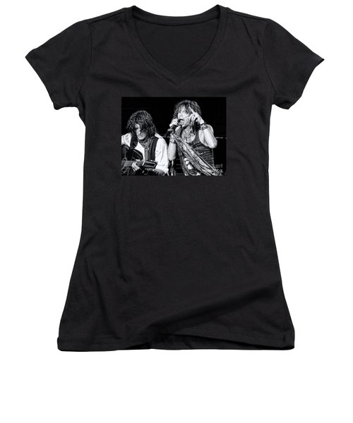 Women's V-Neck T-Shirt (Junior Cut) featuring the photograph Steven Tyler Croons by Traci Cottingham
