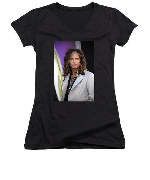 Steven Tyler Women's V-Neck T-Shirt (Junior Cut) by Nina Prommer