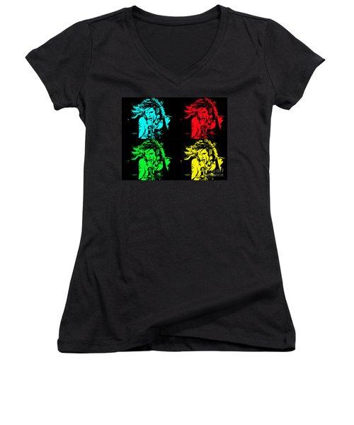 Women's V-Neck T-Shirt (Junior Cut) featuring the photograph Steven Tyler Pop Art by Traci Cottingham