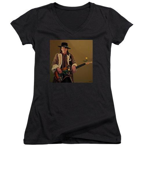 Stevie Ray Vaughan 2 Women's V-Neck T-Shirt (Junior Cut) by Paul Meijering