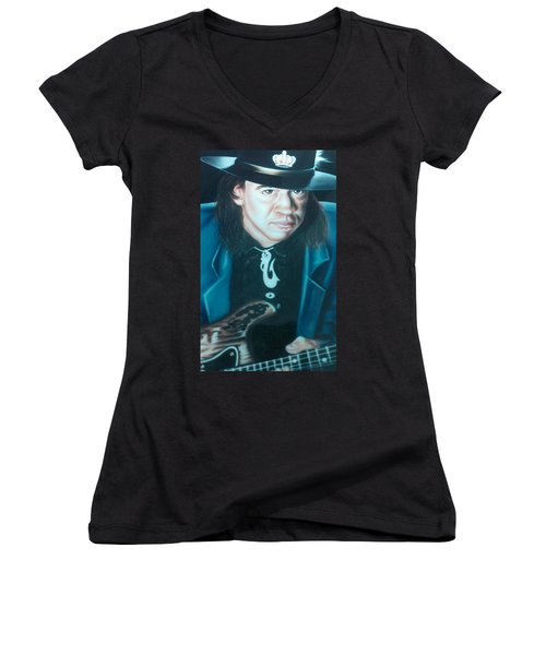 Women's V-Neck T-Shirt (Junior Cut) featuring the painting Stevie Ray Vaughn by Darren Robinson