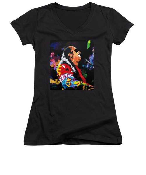 Stevie Wonder Live Women's V-Neck T-Shirt (Junior Cut) by Richard Day