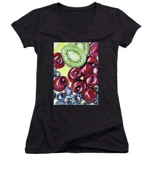 Still Life 130. Cherries Women's V-Neck (Athletic Fit)