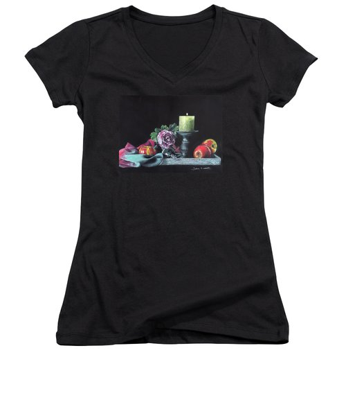 Still Life With Candle Women's V-Neck