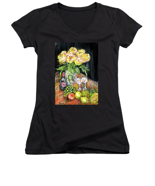 Still Life With Roses, Fruits, Wine. Painting Women's V-Neck (Athletic Fit)