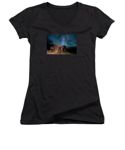 Still Night At Old Cabin Women's V-Neck T-Shirt (Junior Cut) by Michael J Bauer