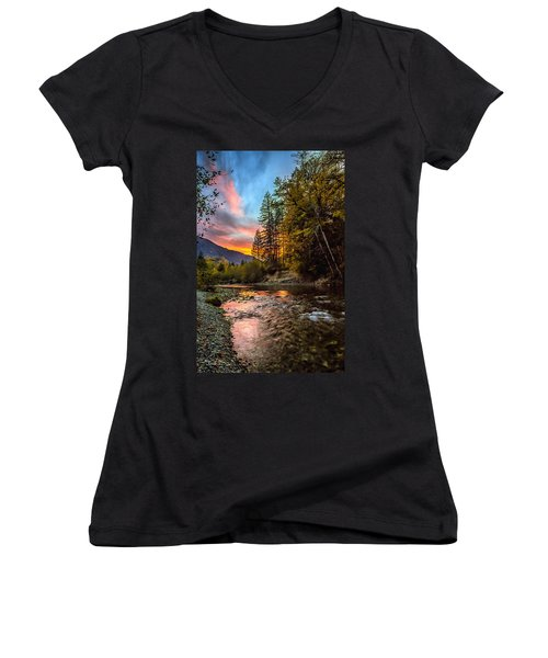 Stillaguamish Sunset Women's V-Neck (Athletic Fit)