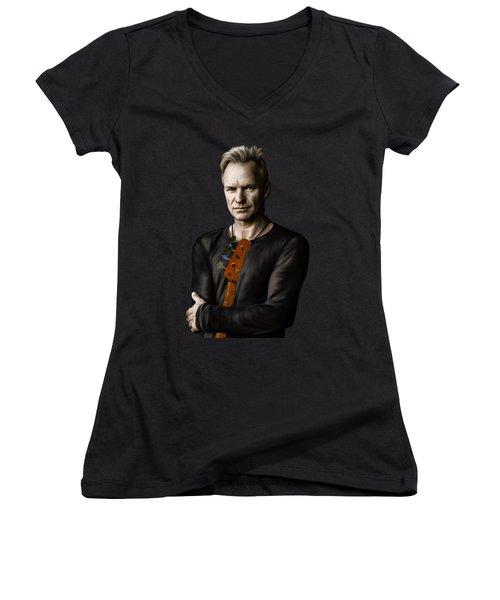 Sting Women's V-Neck T-Shirt (Junior Cut) by Andrzej Szczerski