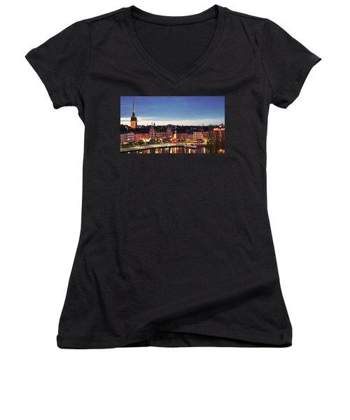 Stockholm By Night Women's V-Neck T-Shirt