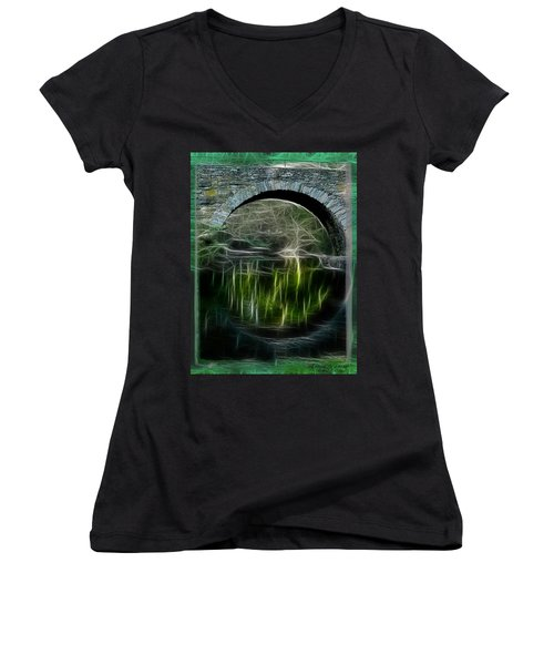 Stone Arch Bridge - Ny Women's V-Neck T-Shirt (Junior Cut) by EricaMaxine  Price