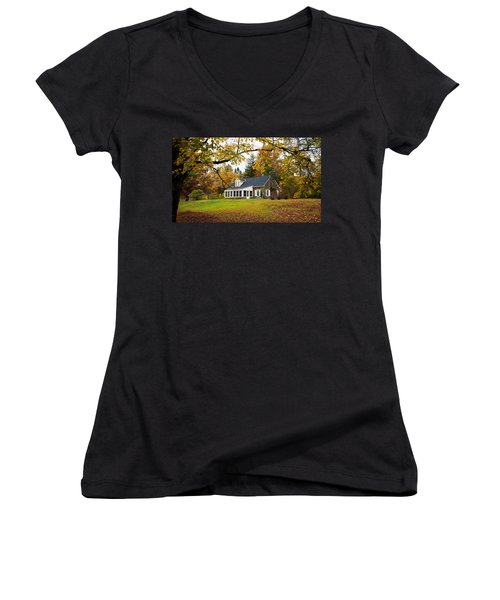 Stone Cottage In The Fall Women's V-Neck T-Shirt (Junior Cut) by Kenneth Cole