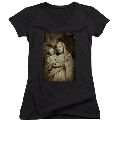 Stone Madonna And Child Women's V-Neck