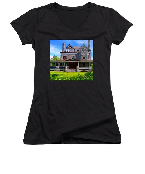 Women's V-Neck T-Shirt (Junior Cut) featuring the photograph Stone Mansion Garden by Becky Lupe