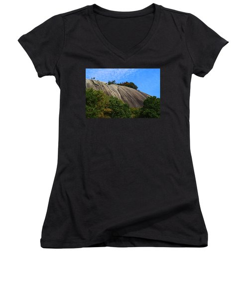 Stone Mountain Women's V-Neck T-Shirt (Junior Cut) by Kathryn Meyer