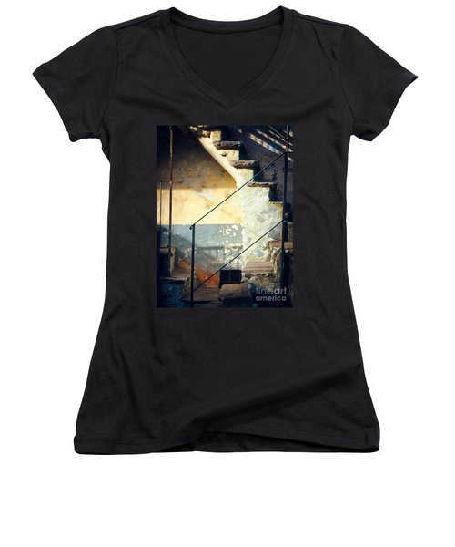 Women's V-Neck T-Shirt (Junior Cut) featuring the photograph Stone Steps Outside An Old House by Silvia Ganora