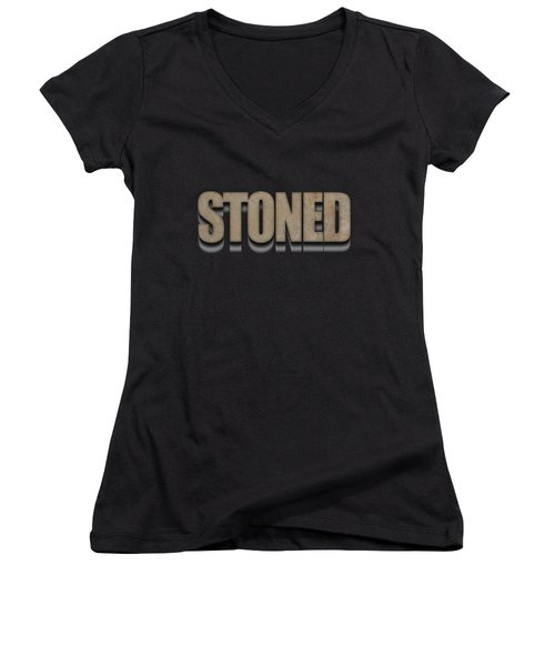 Stoned Tee Women's V-Neck T-Shirt (Junior Cut) by Edward Fielding