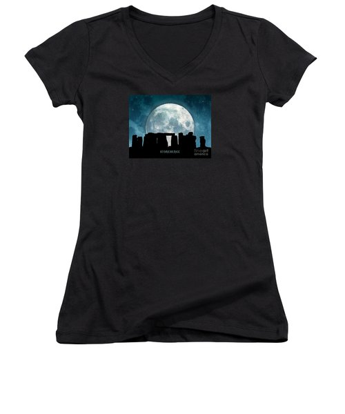 Women's V-Neck T-Shirt (Junior Cut) featuring the digital art Stonehenge by Phil Perkins