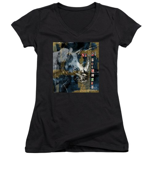 Stop Rhino Poachers Wildlife Conservation Art Women's V-Neck (Athletic Fit)