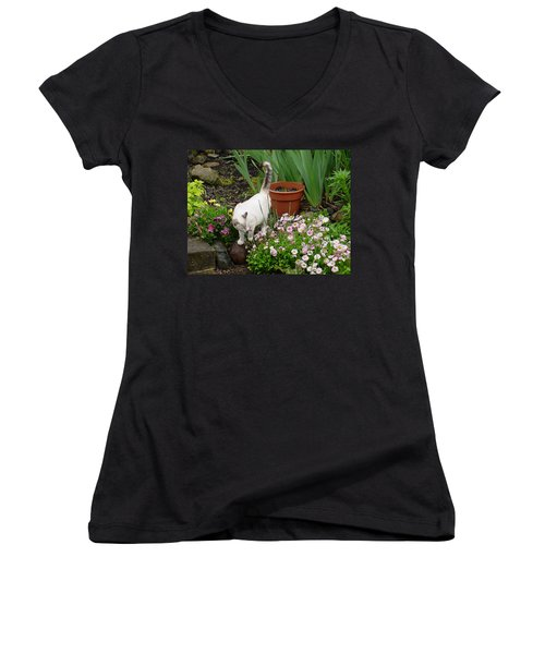 Stop To Smell Flowers Women's V-Neck T-Shirt