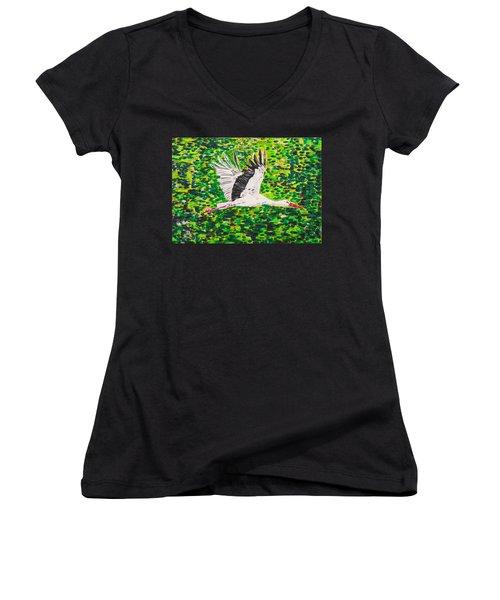Stork In Flight Women's V-Neck T-Shirt (Junior Cut) by Valerie Ornstein