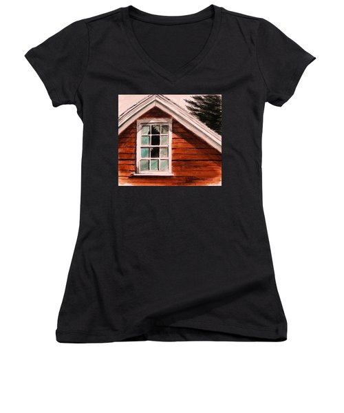 Women's V-Neck T-Shirt (Junior Cut) featuring the painting Storm Damage by John Williams