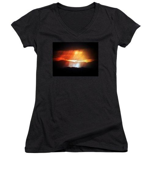 Storm Glow Night Over Santa Fe Mountains Women's V-Neck T-Shirt (Junior Cut) by Joseph Frank Baraba
