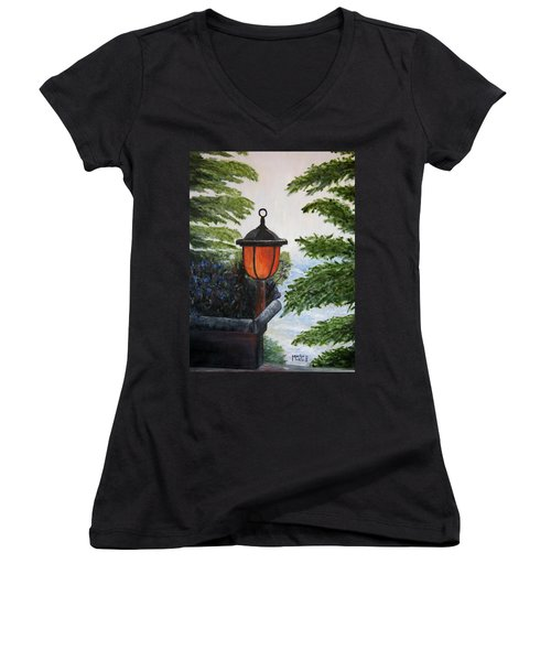 Women's V-Neck T-Shirt (Junior Cut) featuring the painting Storm On Lake Of The Woods by Marilyn  McNish